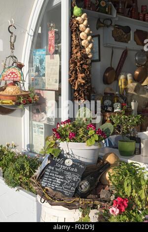Greek Restaurant, Firostefani, Santorini - Stock Photo