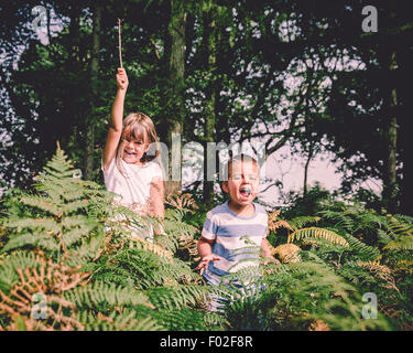 Two happy children jumping out of from behind the ferns in the forest - Stock Photo