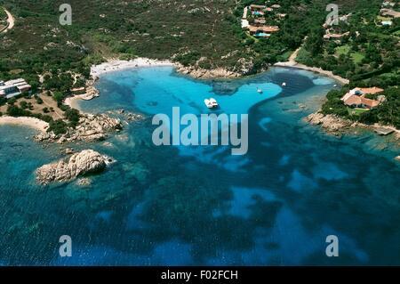 Aerial view of Capo Capaccia  - Costa Smeralda, Province of Olbia-Tempio, Sardinia Region, Italy - Stock Photo