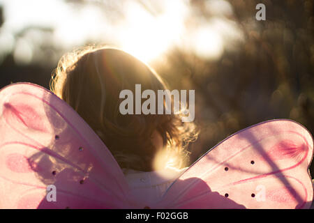 Rear view of a girl in a fairy costume - Stock Photo