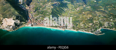 Aerial view of Finale Ligure - Province of Savona, Liguria Region, Italy - Stock Photo