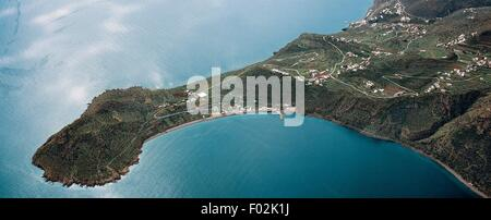 Aerial view of Filicudi in the Aeolian or Lipari Islands (UNESCO World Heritage List, 2000) - Sicily Region, Italy. - Stock Photo