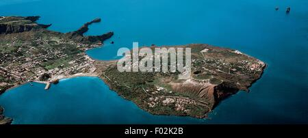 Aerial view of Vulcano Island and Vulcanello in the Aeolian or Lipari Islands (UNESCO World Heritage List, 2000) - Stock Photo