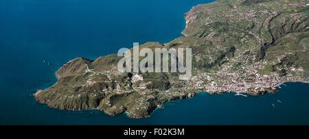 Aerial view of Lipari in the Aeolian or Lipari Islands (UNESCO World Heritage List, 2000) - Sicily Region, Italy - Stock Photo