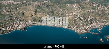 Aerial view of Aci Trezza and Aci Castello - Province of Catania, Sicily Region, Italy. - Stock Photo