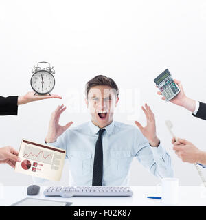 Composite image of hand holding alarm clock - Stock Photo