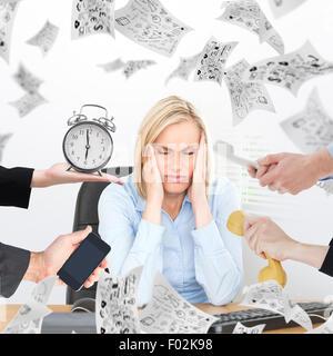 Composite image of hand holding alarm clock - Stock Photo