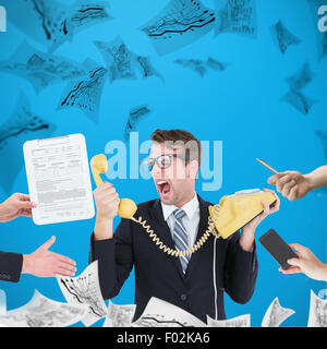 Composite image of businessman in suit offering his hand - Stock Photo