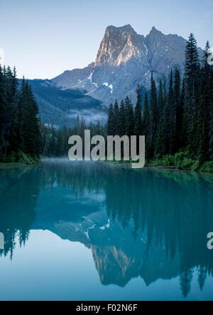 Tranquil Sunrise over Emerald Lake, Yoho National Park, British Columbia, Canada - Stock Photo
