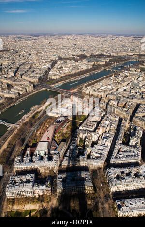 View & shadow of the Eiffel Tower in winter, Paris - Stock Photo