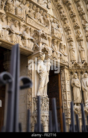 Portal of The Virgin on Notre Dame Cathedral - Stock Photo