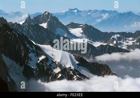 Aiguille du Midi mountain, highest point (3842 m) of the Aiguilles de Chamonix, Mont Blanc massif, Rhone-Alpes, - Stock Photo