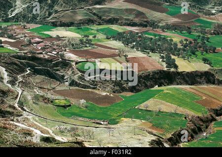 Agricultural landscape between Tirana and Elbasan, Albania. - Stock Photo
