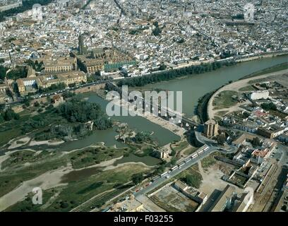Aerial view of Cordoba, with the Cathedral, former Great Mosque (Mezquita; UNESCO World Heritage List, 1984), the - Stock Photo