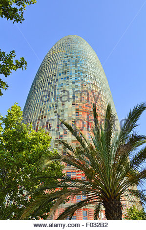 torre agbar modern skyscraper designed by french architect jean nouvel barcelona catalonia spain europe