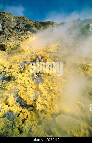 Fumaroles from the Gran Cratere (The Great Crater) on the island of Vulcano, Aeolian Islands. (UNESCO World Heritage - Stock Photo