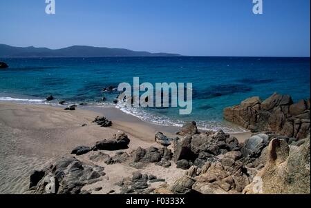 The coast of the Gulf of Valinco, Porto Pollo, Corsica, France. - Stock Photo