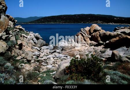 The coast near Porto Pollo, Corsica, France. - Stock Photo