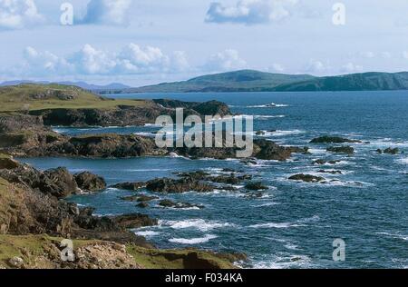 The rocky coast around Ashleam Bay, Achill Island, County Mayo, Ireland. - Stock Photo