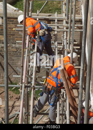 Scaffolders in the process of dismantling a spiders web of steel upon a listed building after renovation work has - Stock Photo