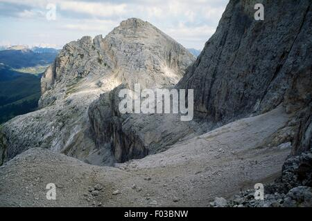 Mount Mulaz seen from Farangole Pass, Paneveggio-Pale di San Martino Nature Park, Dolomites (UNESCO World Heritage - Stock Photo