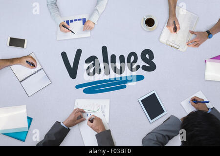 Values against business meeting - Stock Photo