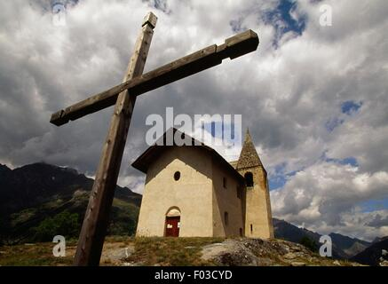 Church in the surroundings of Puy Saint-Vincent, Ecrins National Park (Parc national des Ecrins), Hautes Alpes, - Stock Photo