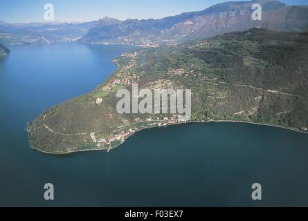 Italy - Lombardy Region - Lake Iseo - The Island of Monte Isola - Sensole - Aerial view - Stock Photo