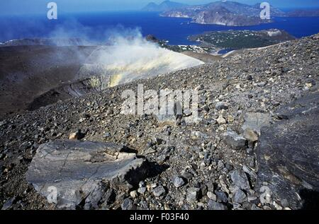 Fumaroles from Gran Cratere (The Great Crater) or Fossa di Vulcano on the island of Vulcano, Aeolian Islands or - Stock Photo