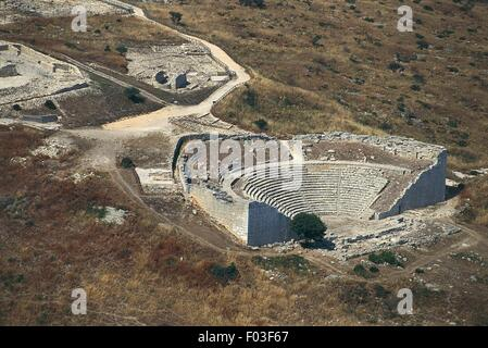 Aerial view of the Greek theatre of Segesta - Province of Trapani, Sicily Region, Italy - Stock Photo