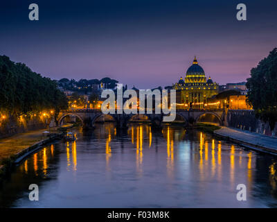 St Peter's Basilica. Vatican City at night, Rome. Italy. - Stock Photo