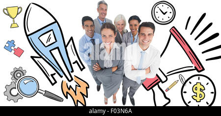 Composite image of smiling business people looking at camera with arms crossed - Stock Photo