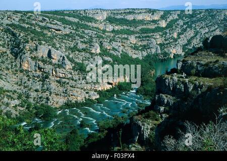 Aerial view of Roski Slap waterfalls on Krka River - Krka National Park, Dalmatia, Croatia - Stock Photo
