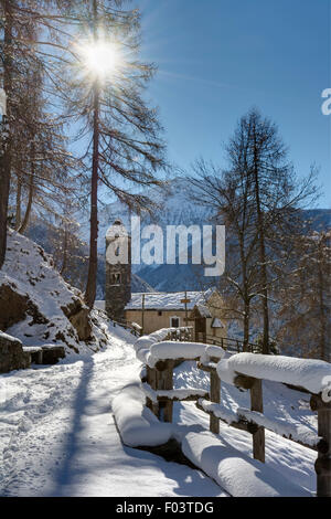 Italy, Lombardy, Retiche Alps, Camonica Valley, the trail to the ancient alpine church of San Clemente - Stock Photo
