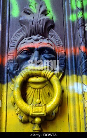 colorful mural on the door knocker - Stock Photo