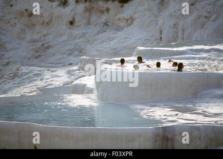 The natural pools of carbonate minerals left by thermal waters, Pamukkale (Unesco World Heritage List, 1985), Denizli - Stock Photo