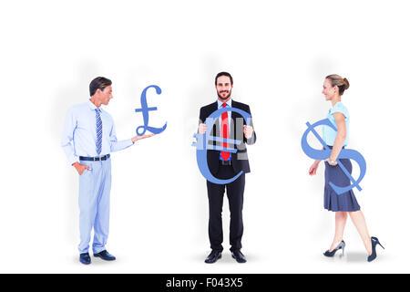 Business people holding money symbols - Stock Photo