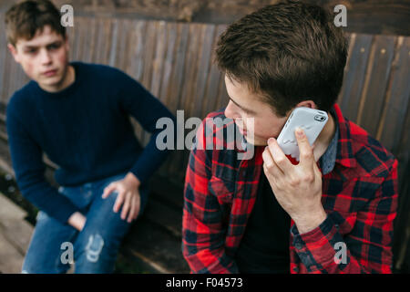 man talking on smartphone - Stock Photo