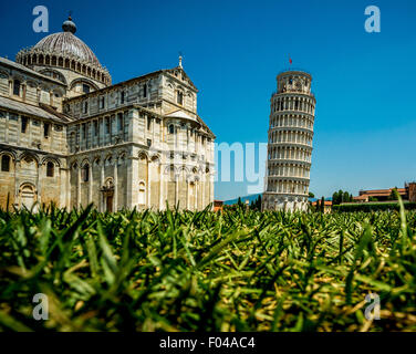 Pisa Cathedral and the famous Leaning Tower of Pisa. Tuscany, Italy shot from a low angel with grass in the foreground. - Stock Photo