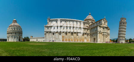 Panoramic shot of Pisa baptistery Cathedral and leaning of Pisa with the Square of Miracles, Pisa, Tuscany, Italy. - Stock Photo