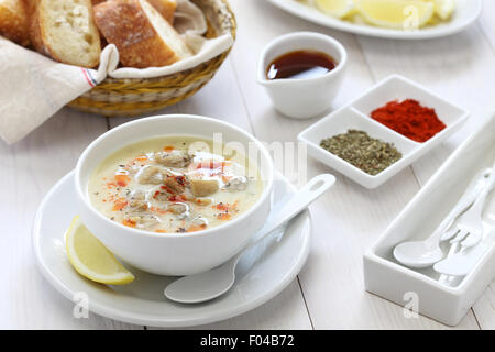 tripe soup, iskembe corbasi, turkish traditional hangover cure - Stock Photo