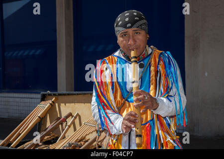 Blackpool, Lancashire, UK. 6th August, 2015.  Foreign Street Aztec Musicians in National Costume Playing South American - Stock Photo