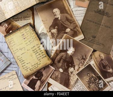 Family trees. Genealogy. Photos and documents - Stock Photo