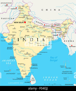 India political map with capital New Delhi, national borders, important cities, rivers and lakes. English labeling - Stock Photo