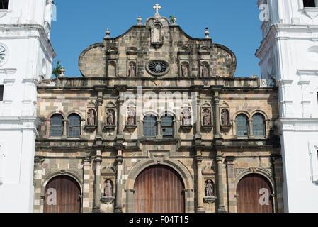 PANAMA CITY, Panama--Standing on the western side of Plaza de la Independencia (or Plaza Mayor), the Catedral Metropolitana - Stock Photo