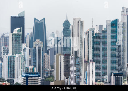 PANAMA CITY, Panama--The skyscrapers of the new Panama City skyline as seed from the top of Ancon Hill. Ancon Hill - Stock Photo