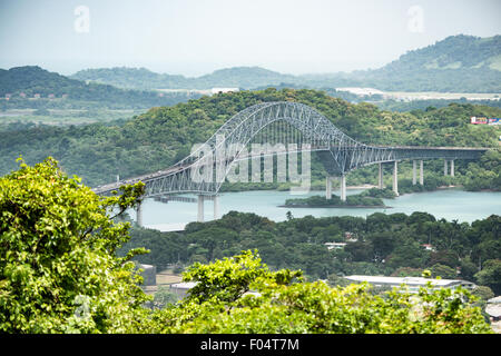 PANAMA CITY, Panama--A view of the Bridge of the Americas, spanning the Panama Canal, from the top of Ancon Hill. - Stock Photo
