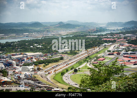 PANAMA CITY, Panama--A view out over the Port of Balboa and the entrance of the Panama Canal from the top of Ancon - Stock Photo