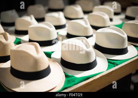 PANAMA CITY, Panama--Rows of new Panama hats for sale at a market in Casco Viejo in Panama City, Panama. The style - Stock Photo
