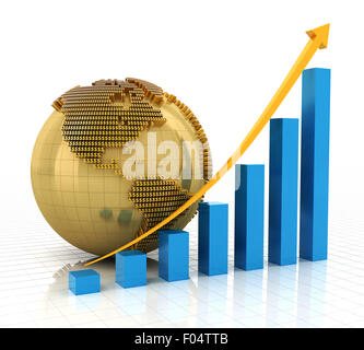 Rising chart with golden globe - Stock Photo